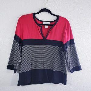 Jones Wear Sport Red Black Striped Top Blouse